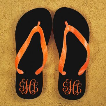 Monogrammed Flip Flops in Black and Orange